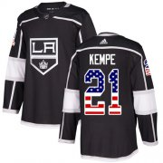 Wholesale Cheap Adidas Kings #21 Mario Kempe Black Home Authentic USA Flag Stitched NHL Jersey