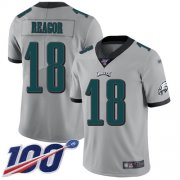 Wholesale Cheap Nike Eagles #18 Jalen Reagor Silver Youth Stitched NFL Limited Inverted Legend 100th Season Jersey