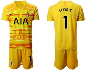 Wholesale Cheap Tottenham Hotspur #1 Lloris Yellow Goalkeeper Soccer Club Jersey