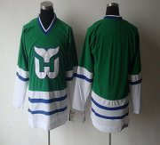 Wholesale Cheap Whalers Blank CCM Throwback Green Embroidered NHL Jersey