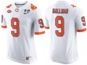 Wholesale Cheap Men's Clemson Tigers #9 Wayne Gallman White 2017 Championship Game Patch Stitched CFP Nike Limited Jersey