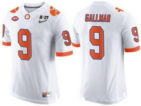 Wholesale Cheap Men\'s Clemson Tigers #9 Wayne Gallman White 2017 Championship Game Patch Stitched CFP Nike Limited Jersey