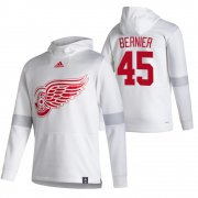 Wholesale Cheap Detroit Red Wings #45 Jonathan Bernier Adidas Reverse Retro Pullover Hoodie White