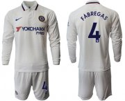 Wholesale Cheap Chelsea #4 Fabregas Away Long Sleeves Soccer Club Jersey