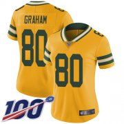 Wholesale Cheap Nike Packers #80 Jimmy Graham Yellow Women's Stitched NFL Limited Rush 100th Season Jersey