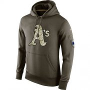 Wholesale Cheap Men's Oakland Athletics Nike Olive Salute To Service KO Performance Hoodie