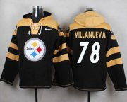 Wholesale Cheap Nike Steelers #78 Alejandro Villanueva Black Player Pullover NFL Hoodie