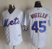Wholesale Cheap Mets #45 Zack Wheeler White(Blue Strip) New Cool Base Stitched MLB Jersey