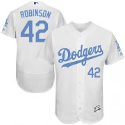 Wholesale Cheap Dodgers #42 Jackie Robinson White Flexbase Authentic Collection Father's Day Stitched MLB Jersey