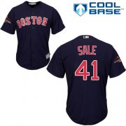 Wholesale Cheap Red Sox #41 Chris Sale Navy Blue Cool Base 2018 World Series Champions Stitched Youth MLB Jersey