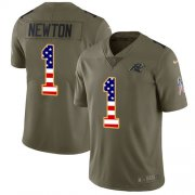 Wholesale Cheap Nike Panthers #1 Cam Newton Olive/USA Flag Youth Stitched NFL Limited 2017 Salute to Service Jersey