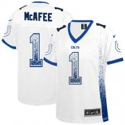 Wholesale Cheap Nike Colts #1 Pat McAfee White Women's Stitched NFL Elite Drift Fashion Jersey