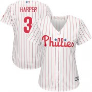 Wholesale Cheap Phillies #3 Bryce Harper White(Red Strip) Home Women's Stitched MLB Jersey
