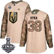Wholesale Cheap Adidas Golden Knights #38 Tomas Hyka Camo Authentic 2017 Veterans Day 2018 Stanley Cup Final Stitched NHL Jersey