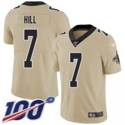 Wholesale Cheap Nike Saints #7 Taysom Hill Gold Men's Stitched NFL Limited Inverted Legend 100th Season Jersey
