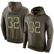 Wholesale Cheap NFL Men's Nike New England Patriots #32 Devin McCourty Stitched Green Olive Salute To Service KO Performance Hoodie