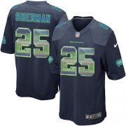 Wholesale Cheap Nike Seahawks #25 Richard Sherman Steel Blue Team Color Men's Stitched NFL Limited Strobe Jersey