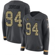 Wholesale Cheap Nike Saints #94 Cameron Jordan Anthracite Salute to Service Women's Stitched NFL Limited Therma Long Sleeve Jersey