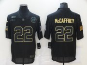 Wholesale Cheap Men's Carolina Panthers #22 Christian McCaffrey Black 2020 Salute To Service Stitched NFL Nike Limited Jersey