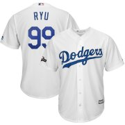 Wholesale Cheap Los Angeles Dodgers #99 Hyun-Jin Ryu Majestic 2019 Postseason Home Official Cool Base Player Jersey White