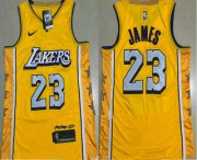 Wholesale Cheap Men's Los Angeles Lakers #23 LeBron James Yellow 2020 Nike City Edition AU ALL Stitched Jersey