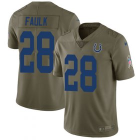 Wholesale Cheap Nike Colts #28 Marshall Faulk Olive Youth Stitched NFL Limited 2017 Salute to Service Jersey