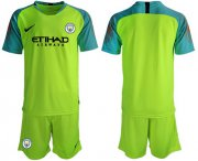 Wholesale Cheap Manchester City Blank Shiny Green Goalkeeper Soccer Club Jersey