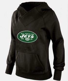 Wholesale Cheap Women\'s New York Jets Logo Pullover Hoodie Black
