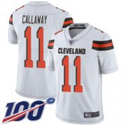 Wholesale Cheap Nike Browns #11 Antonio Callaway White Men's Stitched NFL 100th Season Vapor Limited Jersey