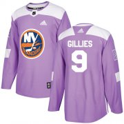 Wholesale Cheap Adidas Islanders #9 Clark Gillies Purple Authentic Fights Cancer Stitched NHL Jersey