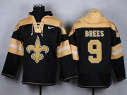 Wholesale Nike Saints #9 Drew Brees Black Player Pullover NFL Hoodie