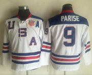 Wholesale Cheap Team USA #9 Zach Parise White 1960 Throwback Stitched Youth NHL Jersey