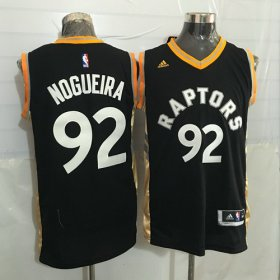 Wholesale Cheap Men\'s Toronto Raptors #92 Lucas Nogueira Black With Gold New NBA Rev 30 Swingman Jersey