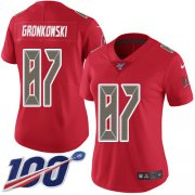 Wholesale Cheap Nike Buccaneers #87 Rob Gronkowski Red Women's Stitched NFL Limited Rush 100th Season Jersey