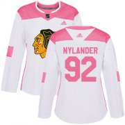 Wholesale Cheap Adidas Blackhawks #92 Alexander Nylander White/Pink Authentic Fashion Women's Stitched NHL Jersey