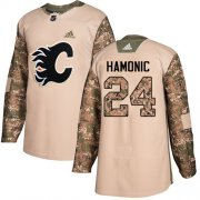Wholesale Cheap Adidas Flames #24 Travis Hamonic Camo Authentic 2017 Veterans Day Stitched NHL Jersey