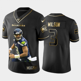Cheap Seattle Seahawks #3 Russell Wilson Nike Team Hero 2 Vapor Limited NFL 100 Jersey Black Golden