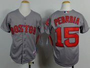 Wholesale Cheap Red Sox #15 Dustin Pedroia Grey Cool Base Stitched Youth MLB Jersey