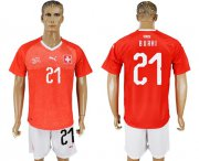 Wholesale Cheap Switzerland #21 Burki Red Home Soccer Country Jersey