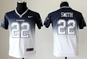 Wholesale Cheap Nike Cowboys #22 Emmitt Smith Navy Blue/White Youth Stitched NFL Elite Fadeaway Fashion Jersey
