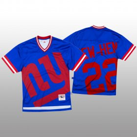 Wholesale Cheap NFL New York Giants #22 Wayne Gallman Blue Men\'s Mitchell & Nell Big Face Fashion Limited NFL Jersey