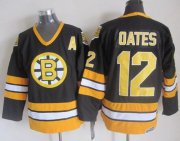 Wholesale Cheap Bruins #12 Adam Oates Black/Yellow CCM Throwback Stitched NHL Jersey