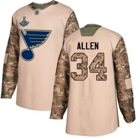 Wholesale Cheap Adidas Blues #34 Jake Allen Camo Authentic 2017 Veterans Day Stanley Cup Champions Stitched NHL Jersey