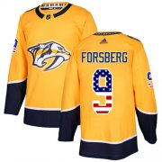 Wholesale Cheap Adidas Predators #9 Filip Forsberg Yellow Home Authentic USA Flag Stitched Youth NHL Jersey