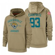Wholesale Cheap Jacksonville Jaguars #93 Calais Campbell Nike Tan 2019 Salute To Service Name & Number Sideline Therma Pullover Hoodie