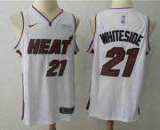 Wholesale Cheap Men's Miami Heat #21 Hassan Whiteside White 2017-2018 Nike Swingman Ultimate Software Stitched NBA Jersey