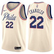 Wholesale Cheap Men's Philadelphia 76ers #22 Wilson Chandler Swingman Cream Basketball City Edition Jersey