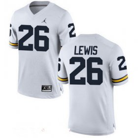 Wholesale Cheap Men\'s Michigan Wolverines #26 Jourdan Lewis White Stitched College Football Brand Jordan NCAA Jersey