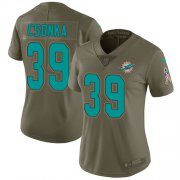Wholesale Cheap Nike Dolphins #39 Larry Csonka Olive Women's Stitched NFL Limited 2017 Salute to Service Jersey