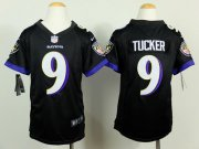 Wholesale Cheap Nike Ravens #9 Justin Tucker Black Alternate Youth Stitched NFL New Elite Jersey